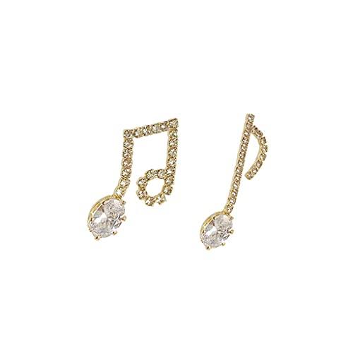 JJH Tachuelas con espumosos for Las Mujeres - Diseño asimétrico de la Nota Musical - Pendientes hipoalergénicos de Pernos Accesorios de Ropa Linda (Color : Gold, tamaño : A Pair)