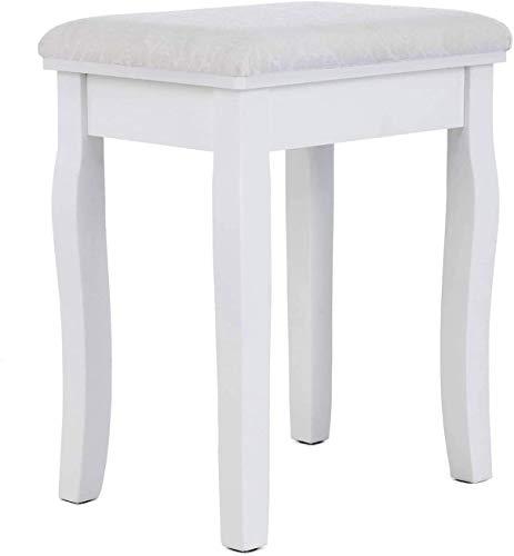 mecor Schminkhocker mit Kissen, Sitzhocker für Schminktisch, Polsterhocker Kleiner Klaviersitz, Make-up Hocker weiß
