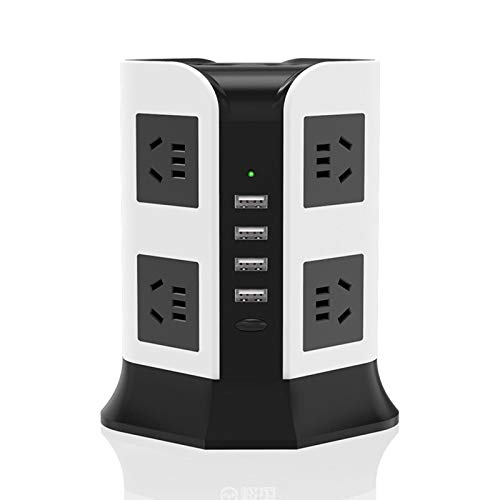 Surge Protector, Power Strip Tower with 4 USB Ports 8 AC Outlets And 6.5Ft Extension Cord, 2500W/10A Charging Station for Smartphone Tablet Laptops Home Office
