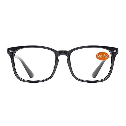 TIJN Blaulichtfilter Brillen Anti blaulicht Damen Herren Brillen ohne sehstärke Computer Brillen Gaming Brillen für PC Handy und Fernseher (26-Schwarz(Anti Nebel Brille))