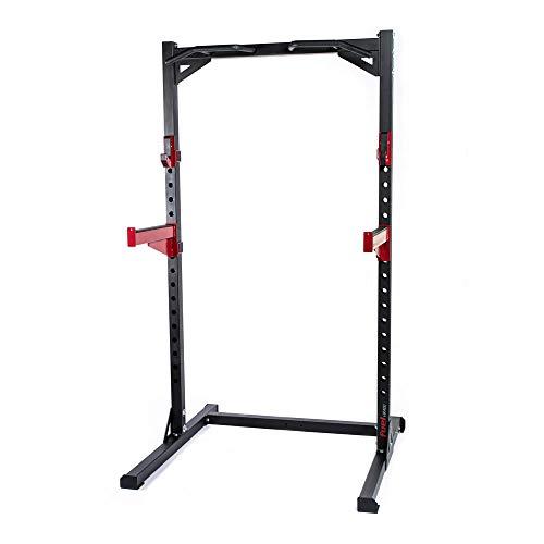 Fuel Fitness Half Cage HR300 Verstellbarer Kniebeugeständer mit Sicherheitsablagen, Squat Rack mit Langhantelständer, Kniebeugeständer mit Klimmzugstange, bis 272kg belastbar