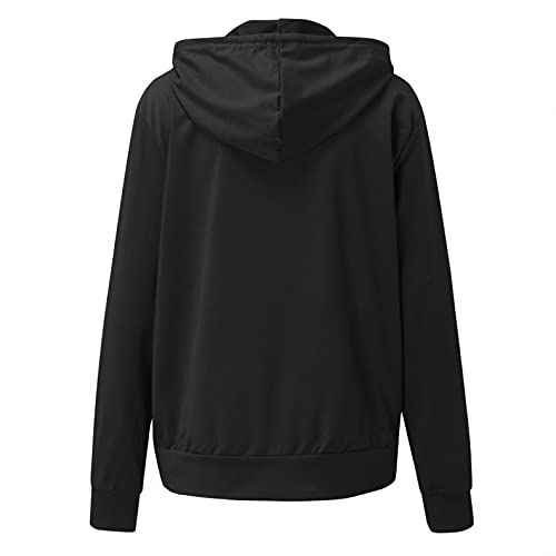 H.eternal(TM) Sudadera con capucha para mujer con cremallera y manga larga para mujer, Negro, M