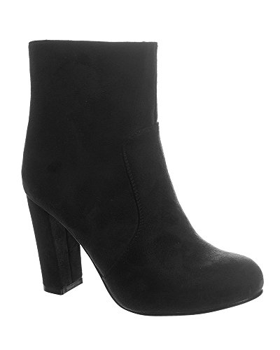 shelikes Womens Faux Suede blok hak laarzen UK 3-8