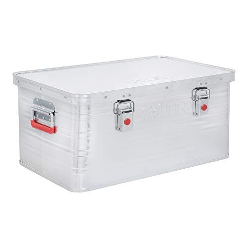 STIER Alubox, Aluminiumbox 50L, Staub- und spritzwasserresistent, mit Gummidichtung und 2 Klapphandgriffen