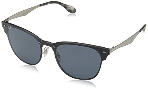 Ray-Ban Blaze Clubmaster Sunglasses,47mm,Brushed Silver/Grey