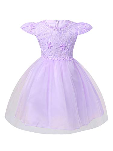 ranrann Infant Baby Girls Dress Cap Sleeveless Beaded Embroidered High-Low Hem Wedding Party Dress Pageant Ball Gown Lavender 9-12 Months