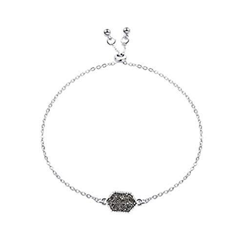 yichahu Pulsera de piedras hexagonales para mujer (plata + gris)
