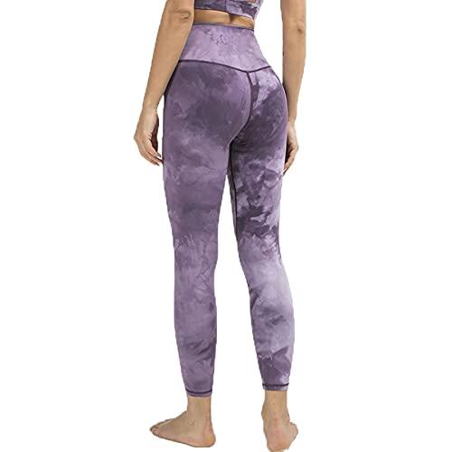 JNWBFC Medias Mujer Pantalones De Chándal De Yoga Tie-Dye Lijado De Doble Cara Nude Leggings De Cintura Alta Fitness Deporte Push Up Sexy Gym
