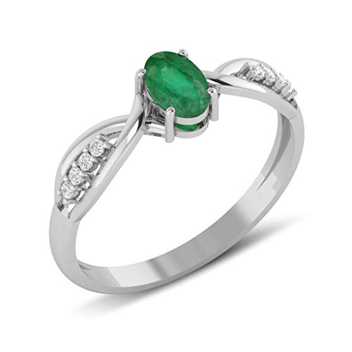 Aden - Anillo de esmeralda con diamantes sobre anillo de plata rodiada,