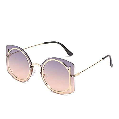Gafas de Sol Sunglasses Gafas De Sol Sin Montura Vintage para Mujer, Hombre, Diseñador De Lujo, Gafas De Sol para Hombre, Monturas Grandes, Anteojos Retro De Gran Tamaño,Anti-UV
