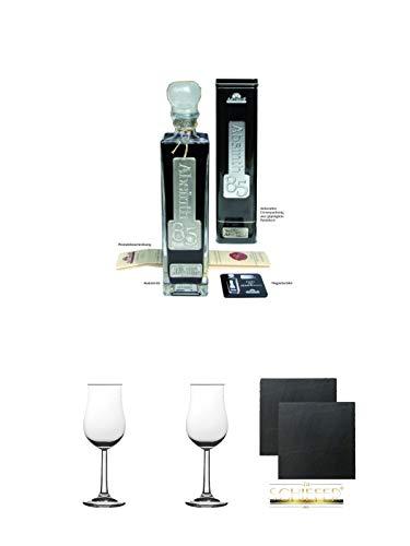 Absinth 66 85 Black Edition in Schmuckdose 0,5 Liter + 2 Bugatti Nosing Gläser mit Eichstrich 2cl und 4cl + 2 Schiefer Glasuntersetzer eckig ca. 9,5 cm Ø