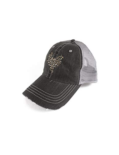 B-Wear Sportswear Leopard Chicken Herringbone Cotton Twill Trucker Cap (Black/Grey) - Hat
