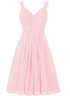 Pink Wedding Bridesmaid Dresses Short Knee Length V-Neck A Line Fit Flare Chiffon Cocktail Party Dress for Women
