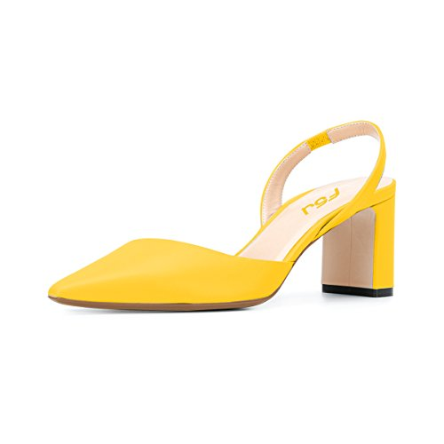FSJ Women Comfy Chunky Block High Heels Closed Pointed Toe Slingback Elastic Strap Simple Pumps Office Sandals Fashion Work Shoes Size 7 Yellow