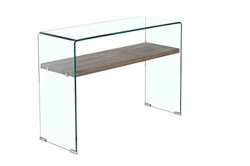 Meubletmoi Console en Verre trempé - étagère en Bois décor chêne - Table d'entrée Design épurée - Ice