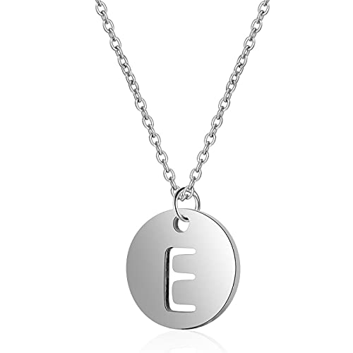 chenchen Initial Necklace 925 Sterling Silver Round Disc Engraved 26 Letter Pendant Necklace Personalized Alphabet Charm Pendant Necklace for Women E