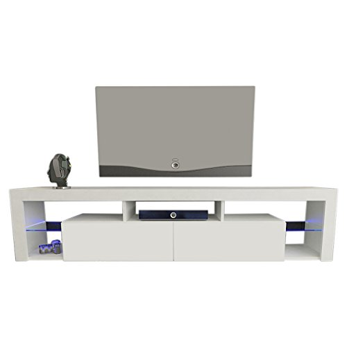 MEBLE FURNITURE & RUGS TV Stand Milano 200 LED Wall Mounted Floating 79' TV Stand (White)