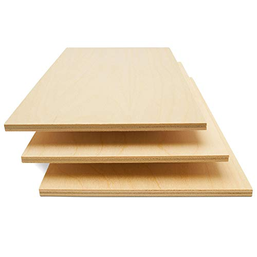 Baltic Birch Plywood, 6 mm 1/4 x 12 x 24 Inch Craft Wood, Box of 3 B/BB Grade Baltic Birch Sheets, Perfect for Laser, CNC Cutting and Wood Burning, by Woodpeckers