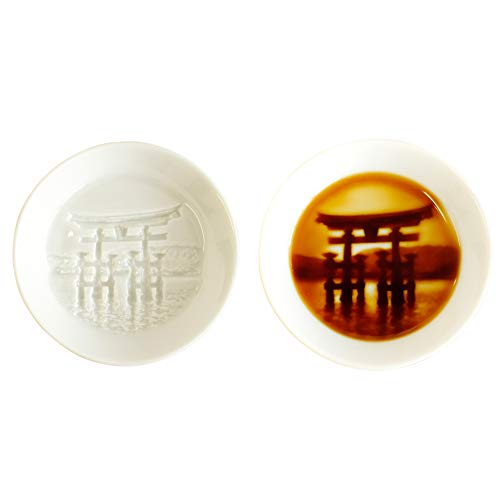 Torii Relief Seasoning Dish, Made in Japan, Shrine Gate Relief Seasoning Dish, Soy Sauce Dish, Sushi Dipping Plate, 3 x 3 inches, White Porcelains