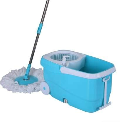 Regular Wants Microfiber 360 Degree Easy Magic Cleaning Mop Floor Cleaner with Big Wheels (Blue) with Extra 1 Reffile