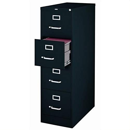 4 Drawer 22' Deep Letter File Cabinet in Black, Fully Assembled
