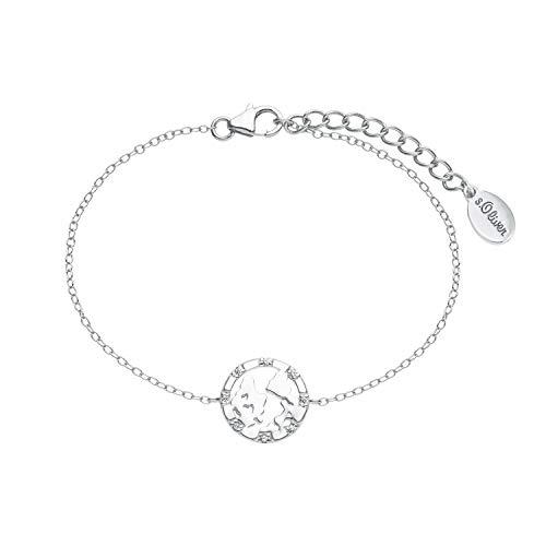 s.Oliver Armkette für Damen mit Weltkugel-Anhänger aus 925 Sterling Silber, längenverstellbar (16+3 cm)