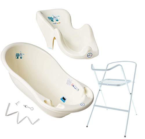 Tega Baby ® Baby Badewanne mit Gestell und Verschiedene Sets mit Babybadewannen + Ständer + Abfluss + Badewannensitz 0-12 Monate | ergonomisch Neugeborene, Motiv:Katze und Hund - gelb, Set:4 Set