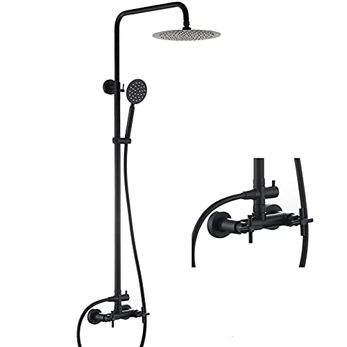 HYEASTR Outdoor Shower Kit Wall Mounted Shower System with 10 Inch Rainfall ShowerHead and Handheld matte black Shower faucet Dual Cross Handles