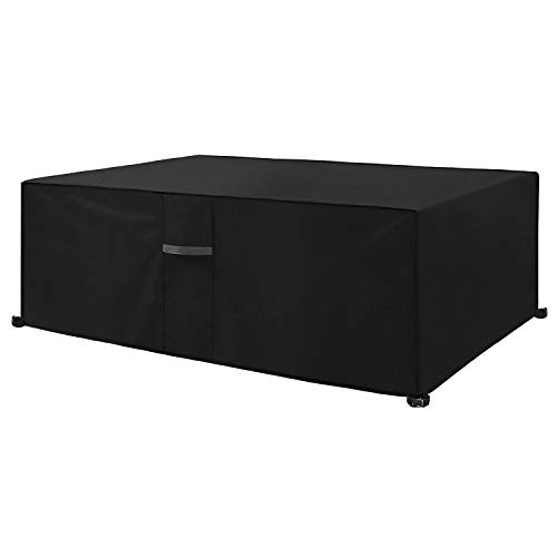 Dokon Garden Furniture Cover with Air Vent, Waterproof, Windproof, Anti-UV, Heavy Duty Rip Proof 600D Oxford Fabric Patio Set Cover, Garden Table Cover, Rectangular (200 x 160 x 70cm) - Black