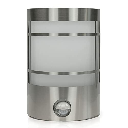 DBLV Wand-Außenleuchte mit LED Leuchtmittel & Bewegungsmelder - Edelstahl Außen-Lampe - Outdoor Hof-Lampe - Garten-Lampe - Garten-Leuchte