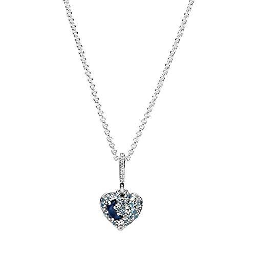 shenlanyu Collar de plata de ley 925 con forma de copo de nieve, collar de corazón con luna azul y estrellas, para mujer, regalo de joyería MoonStars-corazón