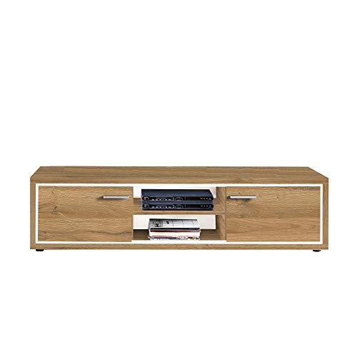 Newfurn TV Lowboard natuur TV kast TV tafel rek board II 175,2x45x 46,6 cm (BxHxD) II [Flynnnnnnnnnntwentyseven] in Grandson donker eiken woonkamer slaapkamer