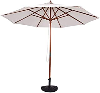 Cypressshop Adjustable Outdoor Patio Sun Shade Umbrella Garden Wooden Pole Yard 10Feet Wooden Umbrella Sunshine Beige Use for Shop Cafe Restaurant Swimming Pool Plaza