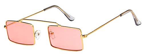 TYJYY Sunglasses Small Retro Rectangle Sunglasses Women Sun Glasses For Ladies Pink Yellow Green Metal Frame Female Eyewear