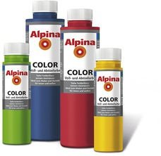ALPINA COLOR Abtönfarbe, Bastelfarbe, Wandfarbe, Lucky Yellow, 250 ml
