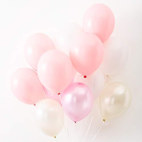 Konfetti & Bär - 42 Luftballons in zarten Rosa- und Weiß-Tönen für Mädchen, Taufe, Babyparty, Geburt, Geburtstag oder Hochzeit im Boho-Stil