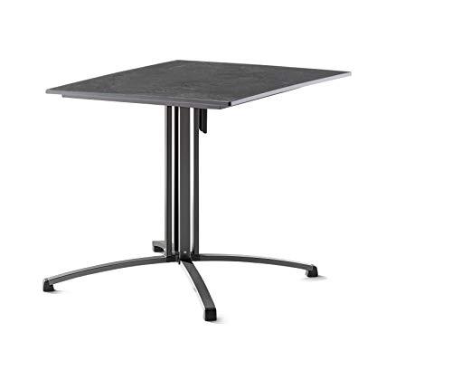 SIEGER 3430-55 Gastro-Klapptisch mit vivodur-Platte 80x80 cm, Stahlrohrgestell, Tischplatte Schieferdekor, Eisengrau/Schiefer anthrazit