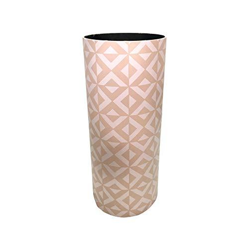 Rebecca Mobili Portaombrelli Design Geometrico, Portabastoni Bianco Beige Tondo, MDF Canvas, Arredo Ufficio Casa - Misure: 50x20x20 cm (HxLxP) -Art. RE6441