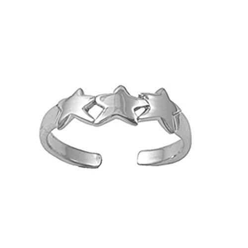 Zehenring aus 925 Sterling Silber als Fußschmuck für Damen, Herren und Mädchen, Größenverstellbar, Stern 4