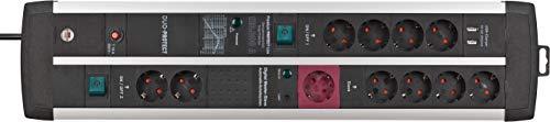 Brennenstuhl Premium-Protect-Line Gaming-Steckdosenleiste 11-fach mit Überspannungsschutz, Master Slave Funktion und 2 Schalter (Mehrfachsteckdose 2-fach USB 3,1 A, 3m Kabel, Made in Germany)