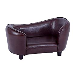 image of Contemporary Chocolate Brown PU Leather Dog Sofa Bed Couch by fixture displays