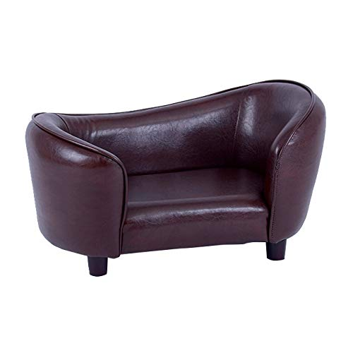 FixtureDisplays Contemporary Chocolate Brown PU Leather Dog Sofa Bed