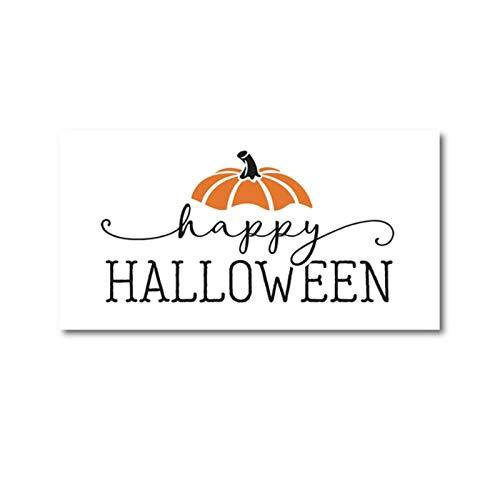 linshel Happy Halloween Print Herbst Poster Bauernhaus Zeichen Wandkunst Bild Leinwand Malerei Halloween Zeichen Dekoration-50x100cm Kein Rahmen