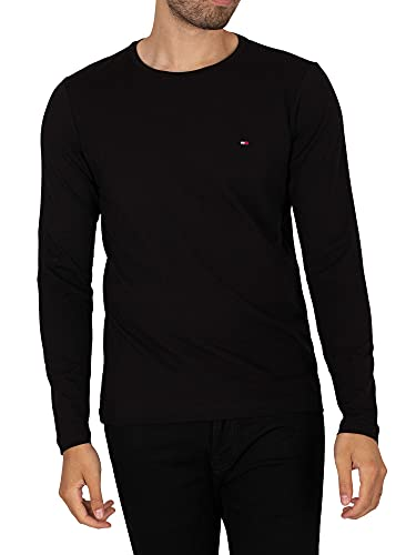 Tommy Hilfiger Stretch Slim Fit Long Sleeve Tee T-Shirt de Sport, Black, Small Homme