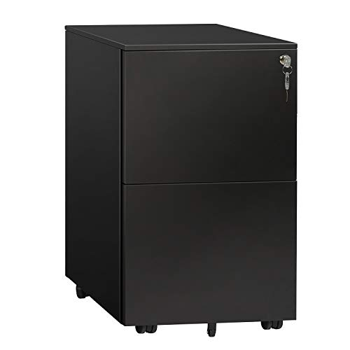 DEVAISE Locking File Cabinet, 2 Drawer Rolling Metal Filing Cabinet, Fully Assembled Except Wheels,...