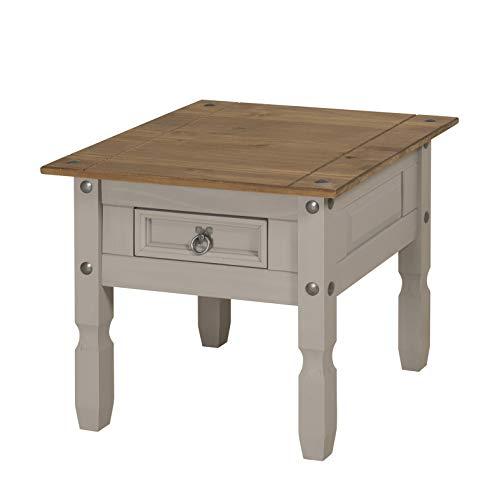 Mercers Furniture Corona Grey Wax 1 Drawer Lamp Table