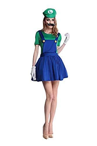 thematys Super Mario Luigi Chapeau + Robe + Barbe + Gants - Ensemble de Costume pour Femme - Parfait pour Le Carnaval et Le Cosplay (S, 150cm-155cm)