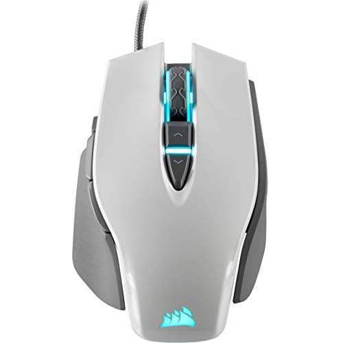 Corsair M65 ELITE RGB Ottico Fps Mouse Gaming, 18000 Dpi Ottico Sensore, Retroilluminazione a Rgb LED, Sistema di Regolazione del Peso, Bianco