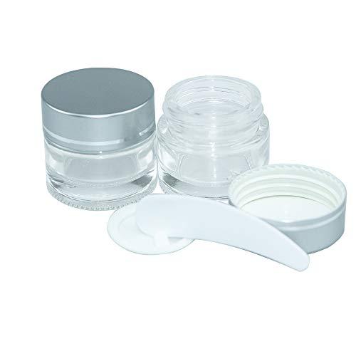 10pcs 10ml Pot Vide Cosmétique en Verre Clair Récipient Cosmétique, avec Couvercle en Argent, pour Produits Cosmétiques, Crème pour le Visage, Baume à Lèvres
