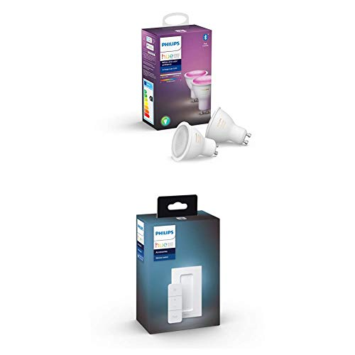 Philips Hue Pack de 2 Bombillas Inteligentes LED GU10 + Philips Hue Hue Dimmer Switch Interruptor inteligente